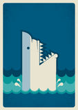 Shark poster.Vector background illustration Royalty Free Stock Photography