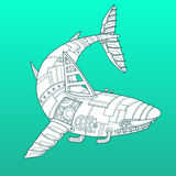 Shark robot color fashion vector illustration Royalty Free Stock Images