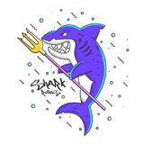 Shark Rules. Cute shark with typography design for poster and print design. Shark Rules . T-Shirt, Poster or Flyer design. Vector Illustration Royalty Free Stock Photo