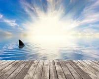 Shark' s vin van de pier wordt gezien die stock illustratie