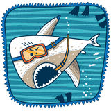 Shark scuba diver. In mask and breathing tube in his mouth Royalty Free Stock Images