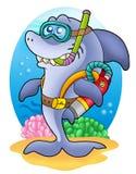 Shark scuba diver on sea bottom. Color illustration Stock Images