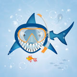 Shark with scuba mask. Illustration of shark with scuba mask Royalty Free Stock Photography