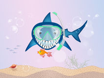 Shark with scuba mask. Illustration of shark with scuba mask Stock Images