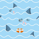 Shark in  sea seamless pattern. Man drowns. Scenery screams help. Background of  fin of marine predator and waves. Lifebuoy in ocean Royalty Free Stock Image