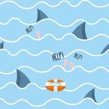 Shark in  sea seamless pattern. Man drowns. Scenery screams help Royalty Free Stock Image