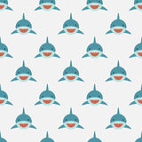 Shark seamless pattern. Cute shark front face in flat design. Background pattern for Diving and Snorkeling equipment shop, diving School or scuba club Royalty Free Stock Photos