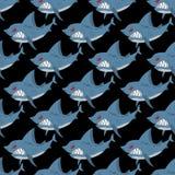 Shark seamless pattern. Many angry, ferocious marine animals. Ve Stock Photos