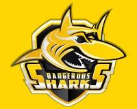 Shark Shield Sport Logo Vector Mascot Aquatic Predator Sport Emblem Diving royalty free illustration