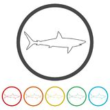 Shark sign, Shark icon, 6 Colors Included. Simple vector icons set Royalty Free Stock Photos