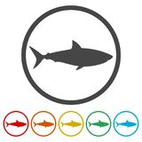 Shark sign, Shark icon, 6 Colors Included. Simple  icons set Stock Photo
