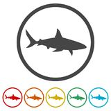 Shark sign, Shark icon, 6 Colors Included. Simple vector icons set Stock Photos
