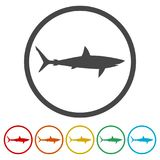Shark sign, Shark icon, 6 Colors Included. Simple vector icons set Stock Photography