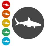 Shark sign, Shark icon. Simple  icons set Stock Photo