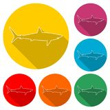 Shark sign, Shark line icon, color icon with long shadow. Simple vector icons set Royalty Free Stock Images