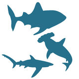 Shark silhouettes vector isolated on white background Royalty Free Stock Photography