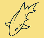 Shark Simple Line Art. Vector line art illustration of shark Royalty Free Stock Photography