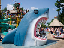 Shark Snack Shack. A snack shack in the shape of a giant great white shark at a water park in New England royalty free stock images
