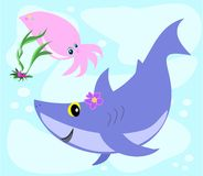 Shark and Squid Swim Royalty Free Stock Image