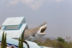Shark statue on the roof in Chiang Mai aquarium,Thailand royalty free stock photo