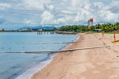 Shark and stinger nets on The Strand beach, Townsville, Australi Royalty Free Stock Images