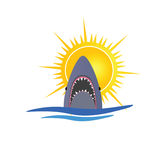Shark and sun  illustration Royalty Free Stock Image