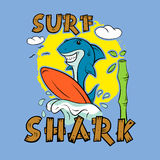 Shark surfer. Print for T-shirt. Surfboard child's drawing. The cheerful cartoon shark Stock Images