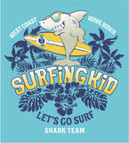 Shark surfing kid team. Vector print for children wear grunge effect in separate layer vector illustration