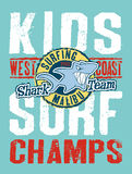 Shark surfing team. Vector artwork for children wear in custom colors royalty free illustration