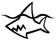 Shark Stencil. Shark swimming stylized stencil black, vector illustration, horizontal, isolated Royalty Free Stock Photography