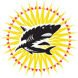 Shark Swimming Up Sunburst Woodcut Stock Photography