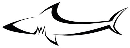 Shark - tattoo. The stylized image of shark. Can be used as a sketch of tattoo. Vector illustration on white background. Outline vector illustration