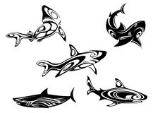 Shark tattoos. Set of shark tattoos in tribal style isolated on white background Royalty Free Stock Photo
