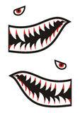 Shark teeth decals. Illustration of shark teeth decoration elements Royalty Free Stock Photos