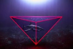 Neon Shark royalty free stock photo
