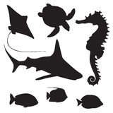 Shark, turtle, fish and Seahorse silhouette Royalty Free Stock Photography