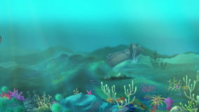 Shark Underwater. Big shark swimming in a ocean. Full color handmade animation in HD stock video