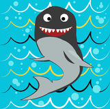 Shark. Vector on a blue background done in retro style royalty free illustration