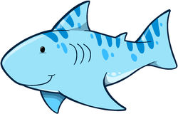 Shark Vector Illustration. Cute Blue Shark Vector Illustration Royalty Free Stock Images