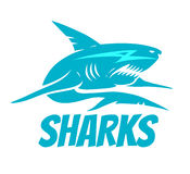 Shark. Vector logo with blue shark Stock Photos