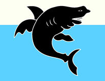 Shark. The shark vector on sea background Stock Images