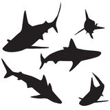 Shark vector silhouettes set. Royalty Free Stock Image