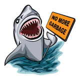 The Shark. Voting against ocean pollution and garbage. Isolated on white background Royalty Free Stock Photo
