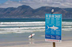 Shark warnings Cape Town Royalty Free Stock Photos