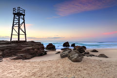 Shark Watch Tower and jagged rocks  Australia Royalty Free Stock Photo