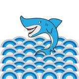 Shark wave cartoon Royalty Free Stock Image