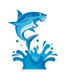 Shark on waves. Warning sign of attack of sharks Stock Photos