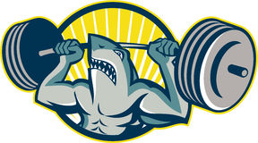 Shark Weightlifter Lifting Barbell Mascot. Illustration of a shark weightlifter lifting weights barbell viewed from front set inside circle done in retro style Royalty Free Stock Image