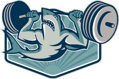 Shark Weightlifter Lifting Weights Mascot. Illustration of a shark weightlifter lifting weights barbell viewed from front done in retro style Stock Images