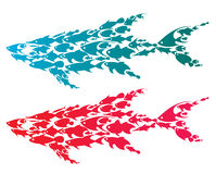 Sharks. Illustration of smaller fish grouped together making a shark shape Royalty Free Stock Photos